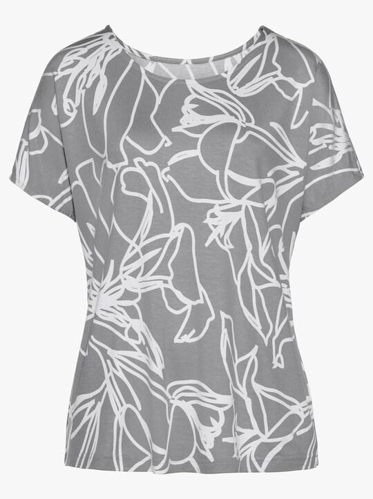 Fair Lady Shirt - steingrau-ecru-bedruckt