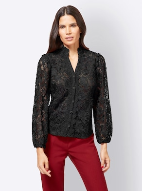 Ashley Brooke Kanten blouse - zwart