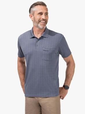 Kurzarm-Poloshirt - blau-kariert
