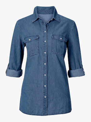 Jeansblouse - blue-stonewashed