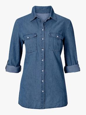 Jeansbluse - blue-stone-washed