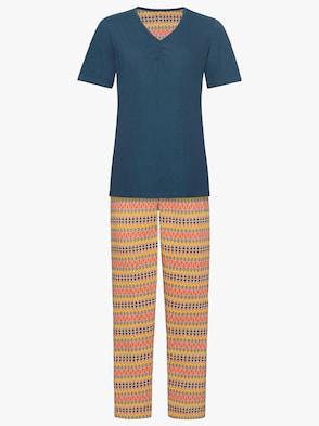 Schlafanzug - petrol-bedruckt