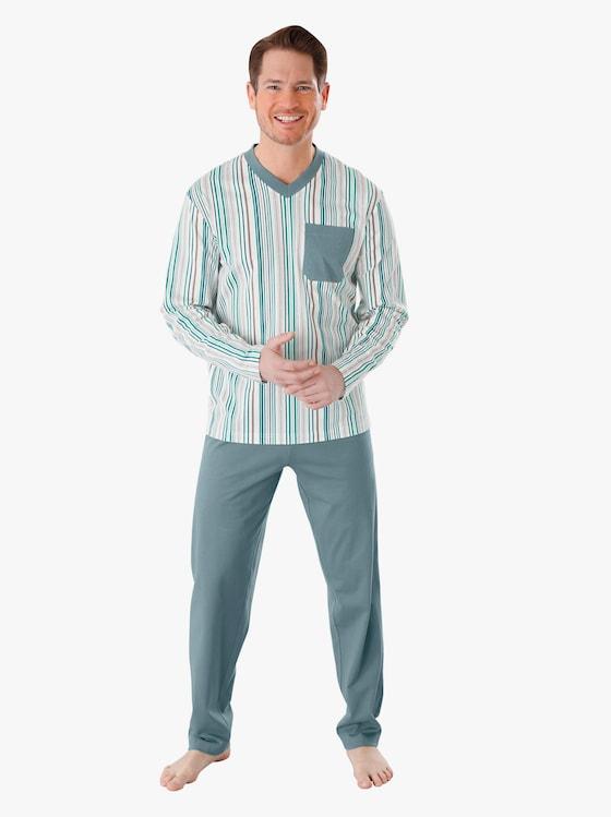 Pyžamo - zelená-proužek