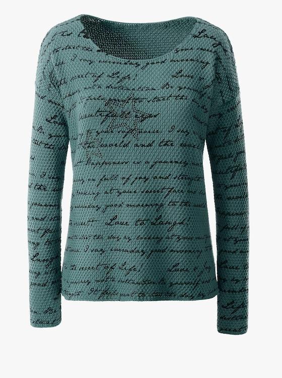 Pullover - grün-gemustert