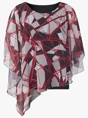 Bluse - rot-schwarz-gemustert