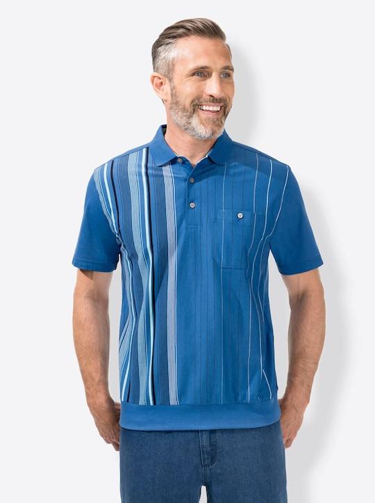 Hajo Kurzarm-Poloshirt - blau-gestreift