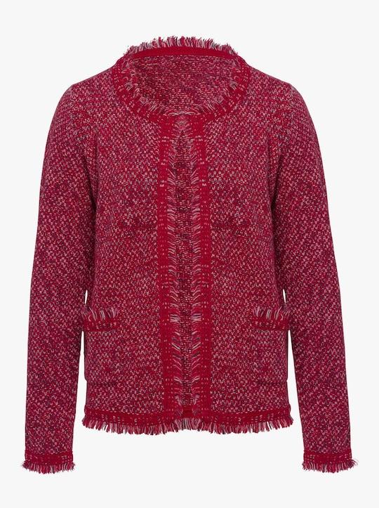 Vest - rood/ecru gedessineerd