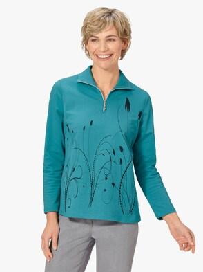 Winter-Shirt - türkis-gemustert