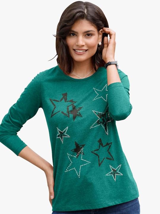 Tričko - mořská zelená-melír