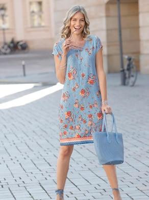 Jersey-Kleid - hellblau-rostrot-bedruckt