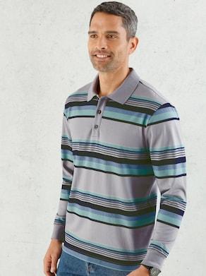 Poloshirt - grau-gestreift