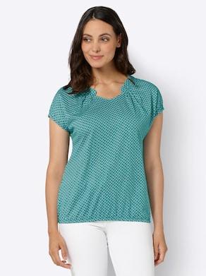 Shirt - lagune/wit bedrukt
