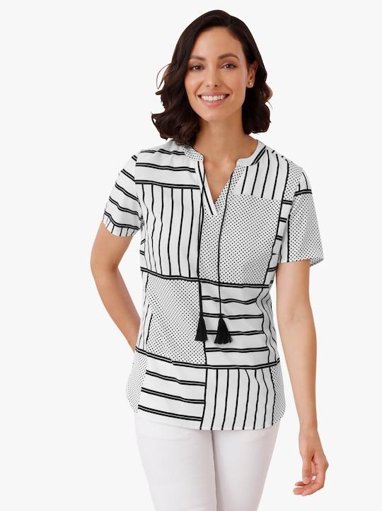 Comfortabele blouse - wit/zwart gedessineerd
