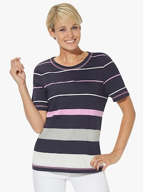 Tričko - námořnická modrá-růžová-proužek