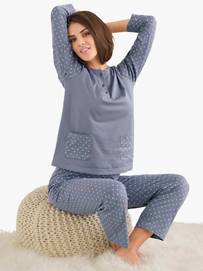Schlafanzug - blaugrau-getupft
