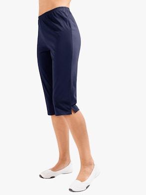 Balení po 2 ks: capri kalhoty - vínová + námořnická modrá