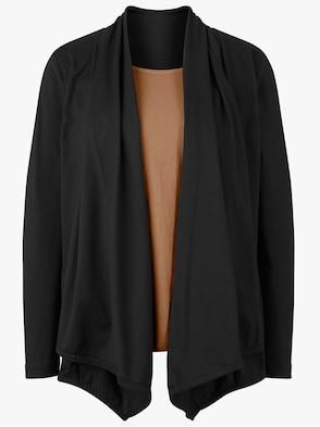 2-in-1-Shirt - schwarz-cognac