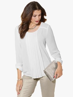 Plissee-Bluse - weiß