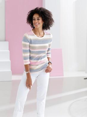 Pullover - ecru-gestreift