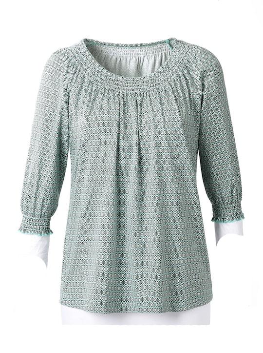 Shirt - mint/grijs bedrukt