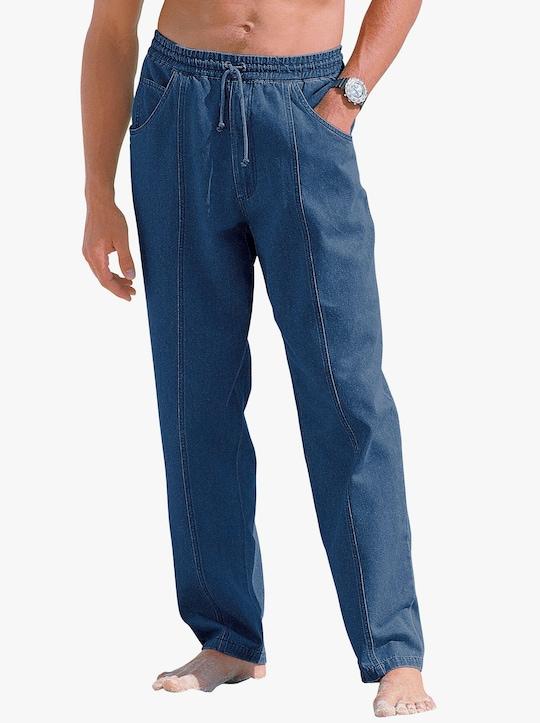Pohodlné kalhoty - sepraná modrá stone