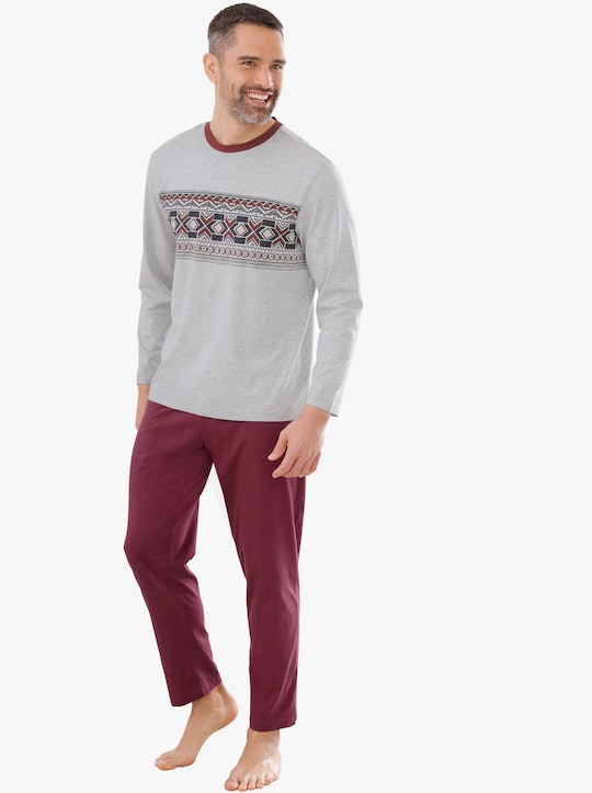Pyjama - lichtgrijs/rood gedessineerd