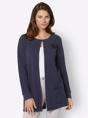 Jersey-Shirtjacke - nachtblau