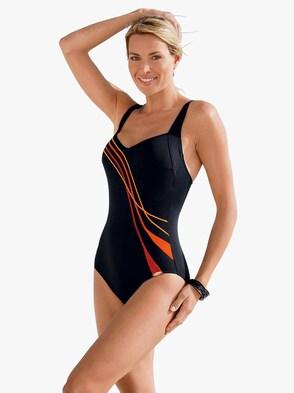Badeanzug - schwarz-orange