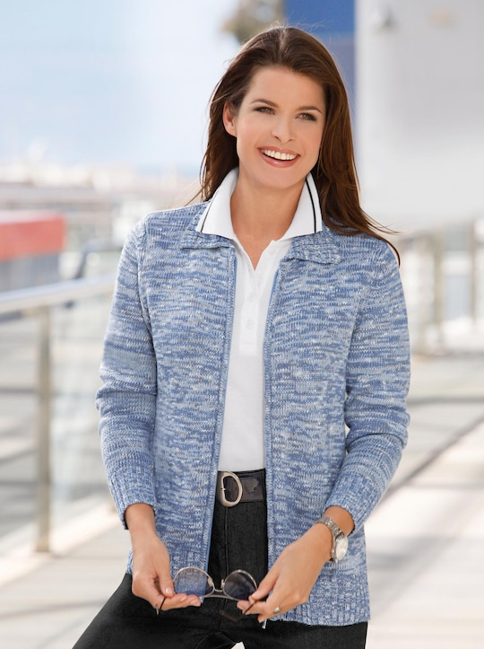 Collection L Strickjacke - blau-meliert