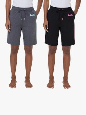 Bermudas - schwarz + grau-meliert
