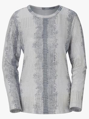 Pullover - ecru-silberfarben-gemustert