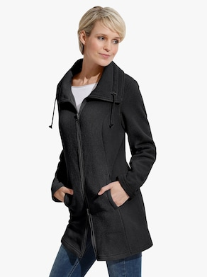 Long-Fleecejacke - schwarz