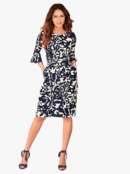 Kleid - nachtblau-gemustert