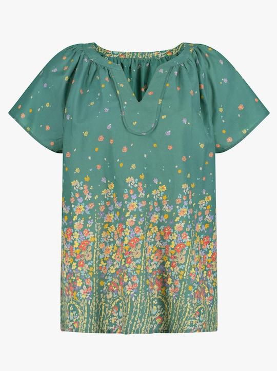 Bluse - grün-gemustert