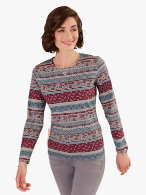 Tričko - nefritová-červená-potisk