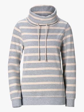 Sweatshirt - grau-beige-gestreift