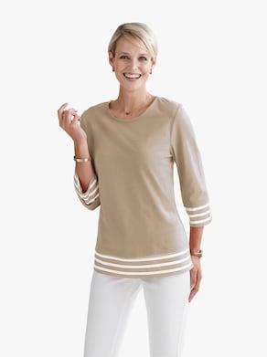 Tričko - béžová-bílá-vzor