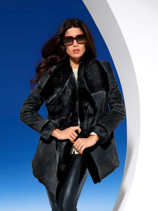 Ashley Brooke Leren jas - zwart