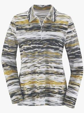 Poloshirt - ocker-grau-bedruckt