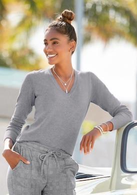 Vivance V-Ausschnitt-Pullover - grau-meliert