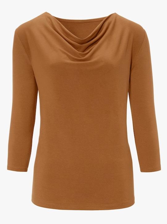 Shirt met cascadehals - cognac