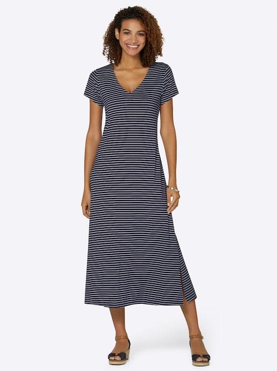 Jersey-Kleid - marine-weiß-gestreift