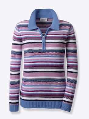 Pullover - kornblume-erika-geringelt
