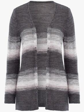 Dlhý pletený sveter - Sivo-ružové