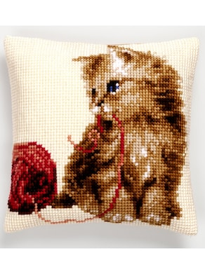 Stickkissen - Katze mit Wollknäuel