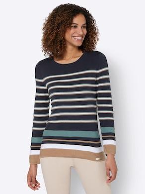 Pullover - marine-weiß-gestreift