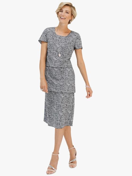 Kleid - schwarz-weiß-gemustert