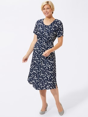 Kleid - marine-weiß-bedruckt