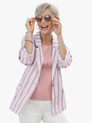 Blusenblazer - rosé-gestreift