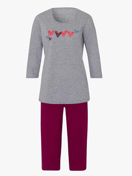 Capri-pyjama - grijs gemêleerd/donkerrood